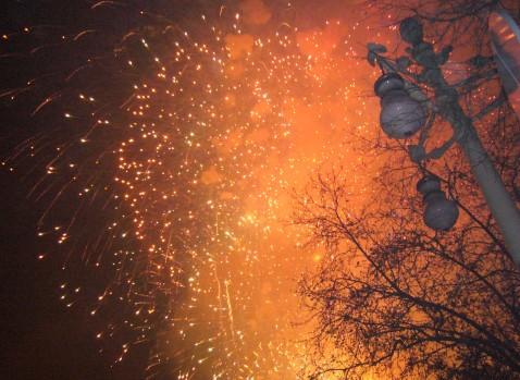 Fuegos artificiales junto al Turia