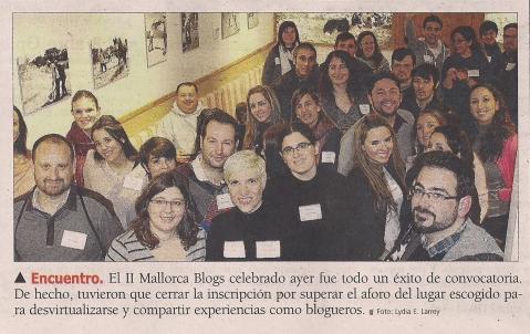 Noticia en Ultima Hora sobre el II Encuentro Mallorcablogs